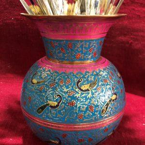 گلدان برنجی میناکاری هندی