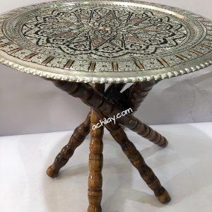 میز مسی با پایه چوبی